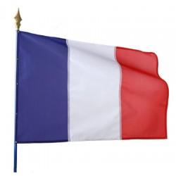 Drapeau français 115 g sur hampe en bois 50 x 75 cm