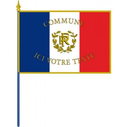 Drapeau français personnalisé sur hampe pour façade sans franges 80 x 120 cm
