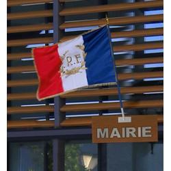 Pavillon français personnalisé pour mat de façade avec franges 100 x 150 cm