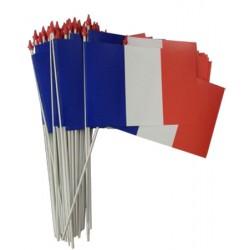 Drapeaux français à agiter matière indéchirable 9,5 x 16 cm (le lot de 100)