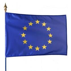 Drapeau européen 115 g sur hampe en bois 80 x 120 cm