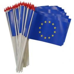 Drapeaux européens à agiter matière indéchirable 9,5 x 16 cm (le lot de 100)