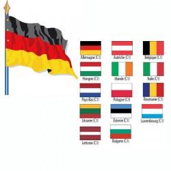 Drapeau de pays de l'UE Cat 1 115 g sur hampe en bois 60 x 90 cm