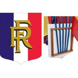 Ecusson porte-drapeaux PVC et bois tricolore RF 40 x 50 cm