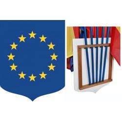 Ecusson porte-drapeaux PVC et bois Union Européenne 40 x 50 cm
