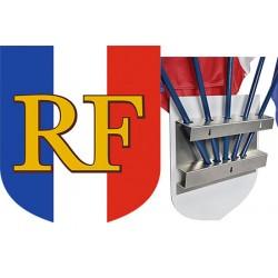 Ecusson porte-drapeaux aluminum tricolore RF 39 x 45 cm