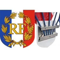 Ecusson porte-drapeaux aluminum tricolore RF et palmes 39 x 45 cm