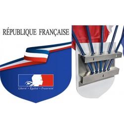 """Ecusson porte-drapeaux aluminum tricolore """"REPUBLIQUE FRANCAISE"""" 39 x 45 cm"""