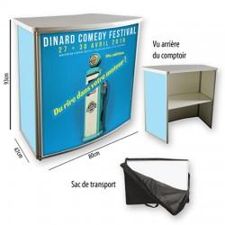 Comptoir d'exposition repliable en alu L80 x P47 x H93 cm