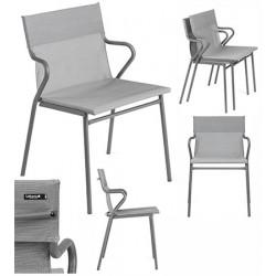 Fauteuil empilable Horizon toile Batyline® gris clair (le lot de 12)