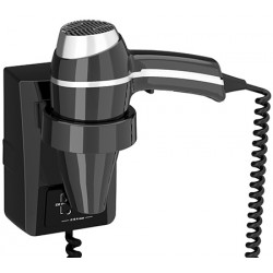 Sèche-cheveux mural JVD Clipper II 1400W noir avec prise rasoir monotension on/off