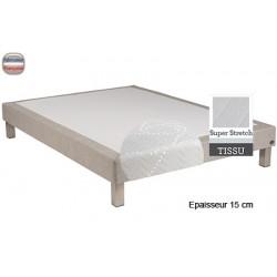 Sommier Tropique lattes passives et feutre ép 15 cm tissu stretch 140 x 200 cm