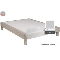 Sommier Tropique lattes passives et feutre ép 15 cm tissu stretch 160 x 190 cm