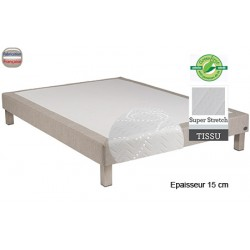 Sommier Tropique lattes passives et feutre ép 15 cm tissu stretch 140 x 190 cm anti-punaises