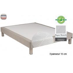 Sommier Tropique lattes passives et feutre ép 15 cm tissu stretch 160 x 190 cm anti-punaises