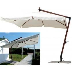 Parasol déporté Carantec bois et polyester 300x300 cm
