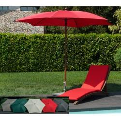 Parasol réglable alu finiton bois et polyester diam 280 cm