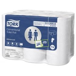 Carton de 108 rlx de papier hygiénique blanc Tork T4 2p 200f Ecolabel