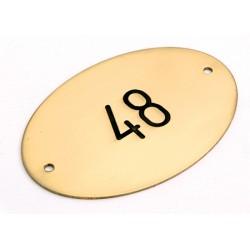 Lot de 10 plaques pour portes et tables laiton massif poli ovale 7,5x5 cm