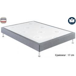 Sommier tapissier lattes massives tissu gris anthracite ép 17 cm 140x190 cm