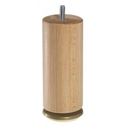 Jeu de 4 pieds bois cylindriques dômes pivotants vernis clair H15 cm