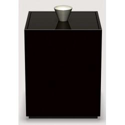 Boite Cube laquée java avec poignée en alu L9 x P9 x H13,5 cm