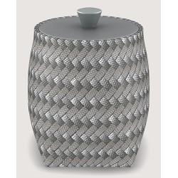 Boite ronde polyéthylène tressé gris Ø10 x H13 cm