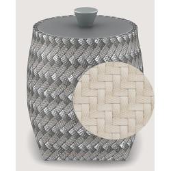 Boite ronde polyéthylène tressé ivoire Ø10 x H13 cm