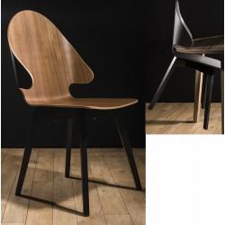 Chaise coque 4 pieds et appui sur table Evolution dossier bas N°1