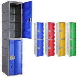 Vestiaire multicases PEHD rotomoulé 1 colonne 2 cases L38,5 x P50 x H181 cm