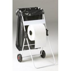 Dérouleur ROSSIGNOL de bobine papier mobile blanc avec support sac