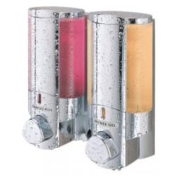 Distributeur de savon 2 réservoirs 300 ml chromé et satiné