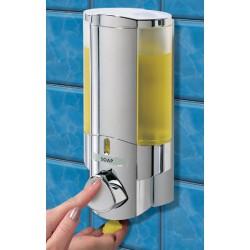 Distributeur de savon 1 réservoir 300 ml chromé et transparent