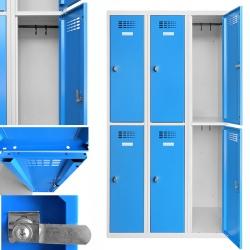 Vestiaire multicases  3 colonnes 2 cases L90 x P50 x H 180 cm