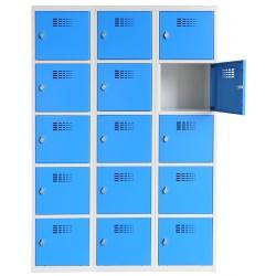 Vestiaire multicases  3 colonnes 5 cases L120 x P50 x H 180 cm