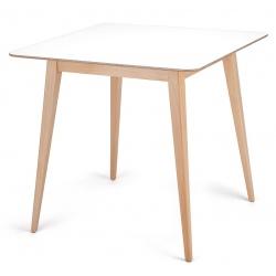 Table de réunion pietement bois plateau MDF blanc L80 x P80 cm