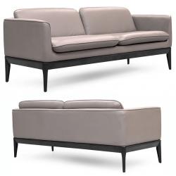 Canapé 2 places similicuir taupe pieds bois laqué noir L179 x P72 x H75 cm