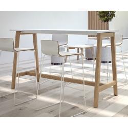 Table haute plateau mélaminé pieds bois L160 x P70 x H105 cm