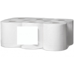 Lot de 12 essuies mains devidage central mini lisse blanc