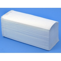 Lot de 32 essuies mains pliage W lisse blanc double épaisseur 22x34 cm