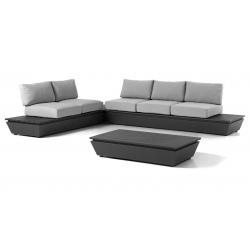Salon complet Vérona coussins gris clair socle en alu et table basse