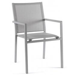 Fauteuil empilable Bari cadre alu gris argent et textylène gris clair