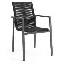 Fauteuil empilable Aruba cadre alu charcoal et fil textylène noir