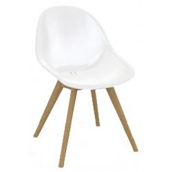 Fauteuil design Stockholm teck et coque synthétique blanche