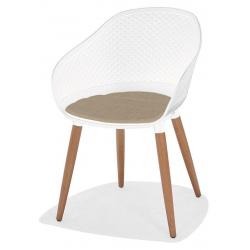 Fauteuil design Kopenhagen teck et coque synthétique blanche avec coussin