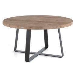 Table ronde Margarite en teck recyclé et armature acier Ø130xH77 cm