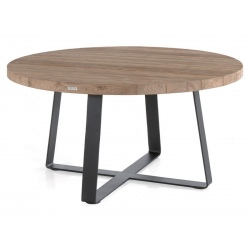 Table ronde Margarite en teck recyclé et armature acier Ø160xH77 cm