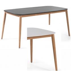 Table rectangulaire Helsinki plateau duranite et piètement teck L213xP100xH74,5 cm
