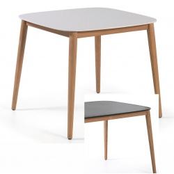 Table carrée Helsinki avec plateau duranite et piètement teck L90xP90xH74,5 cm