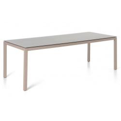 Table rectangulaire Costa plateau verre dépoli taupe clair et pieds en alu champagne L220xP100xH75 cm